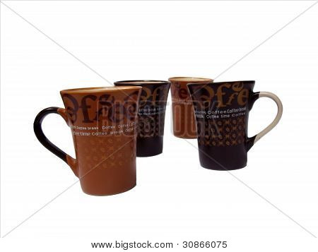 Set of different views of coffee cups