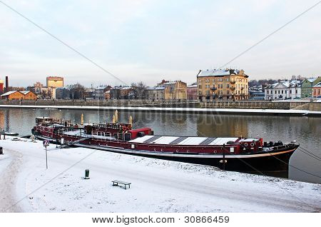 Vistula And Red Pleasure Boat In Krakow, Poland