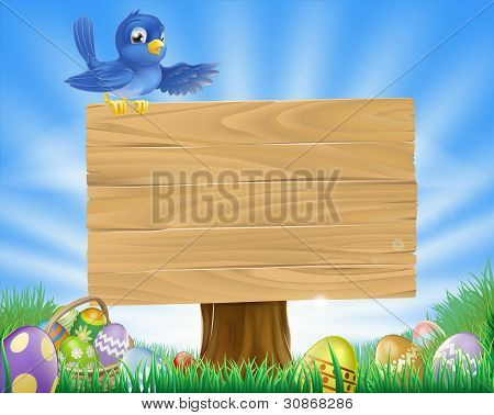 Bluebird Ostern Cartoon Hintergrund