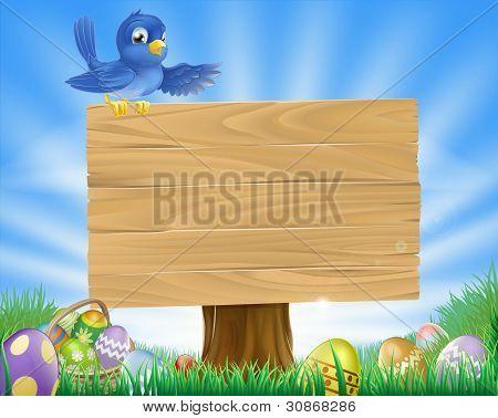 Bluebird Ostern Cartoon Hintergrund
