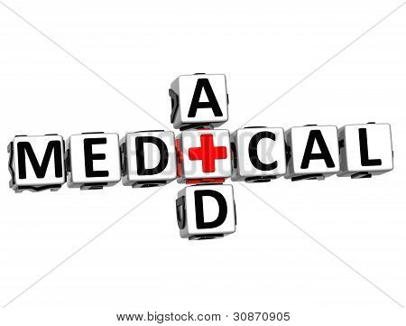 3D Medical Aid Crossword Block Button Text