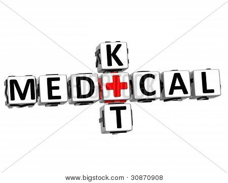 3D Medical Kid Crossword Block Button Text