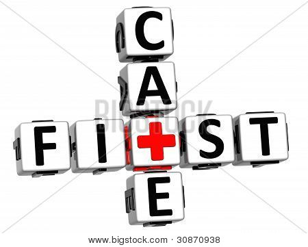 3D First Aid Care Crossword Block Button Text