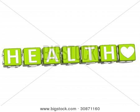 3D Health Block Button Text