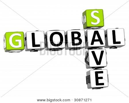 3D Global Save Crossword Text