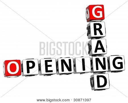 3D Grand Opening Crossword Text