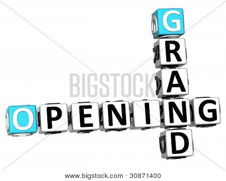 3D Grand Opening Crossword Text