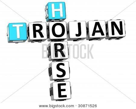 Texto de palavras cruzadas de vírus cavalo de Tróia 3D