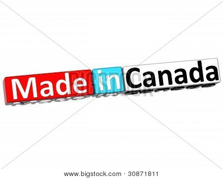 3D Made In Canada Over White Background