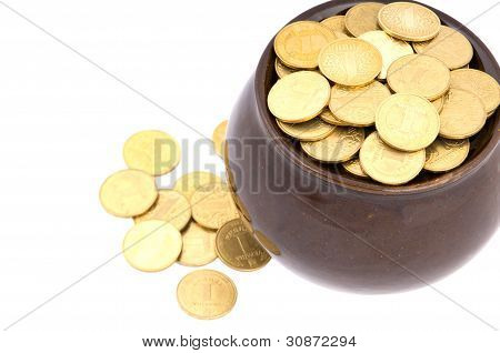 Ceramic pot with metal money