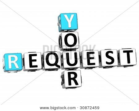 3D Your Request Crossword Text