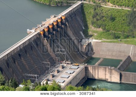 Close Up Image Of A Water Barrier Dam