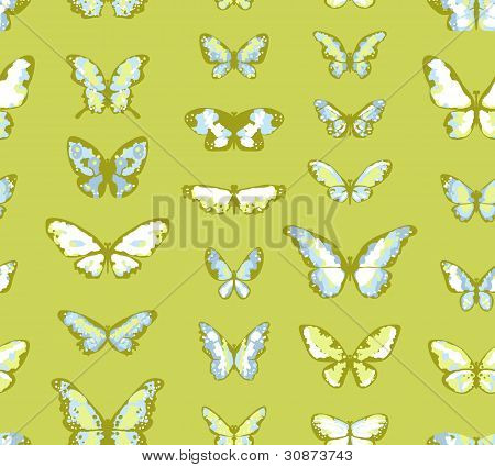 Green seamless highly detailed background with butterflies