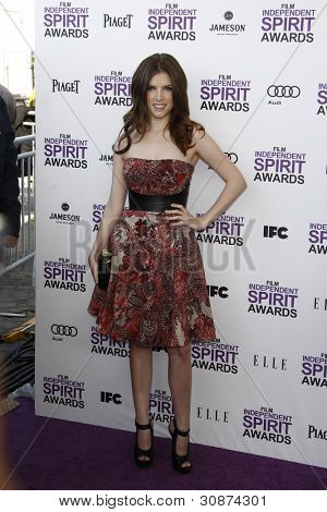 SANTA MONICA, CA - FEB 25: Anna Kendrick at the 2012 Film Independent Spirit Awards on February 25, 2012 in Santa Monica, California