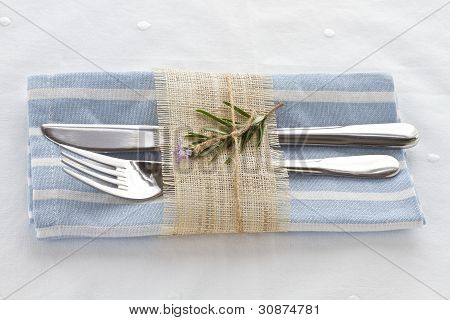 Knife And Fork With Napkin Tied With String And Natural Hessian