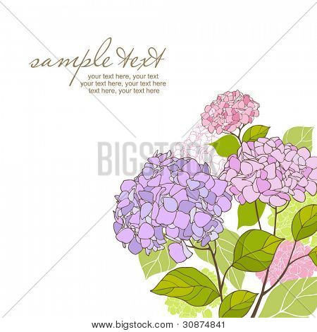 card with stylized hydrangeas and text