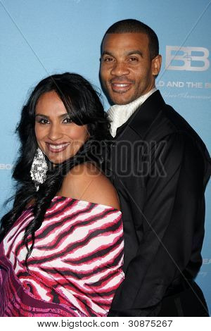 LOS ANGELES - MAR 10:  Estella Lopez Spears; Aaron D. Spears arrives at the Bold and Beautiful 25th Anniversary Party at the Perch Resturant on March 10, 2012 in Los Angeles, CA
