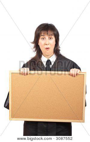 Surprised Judge Behind The Empty Corkboard