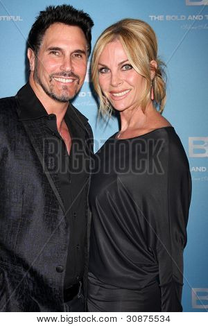 LOS ANGELES - MAR 10:  Don Diamont; Cindy Ambuehl arrives at the Bold and Beautiful 25th Anniversary Party at the Perch Resturant on March 10, 2012 in Los Angeles, CA
