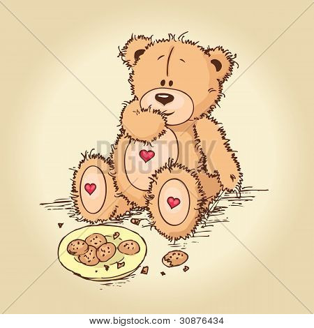 teddy bear eating cookies