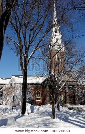Harvard University's Memorial Church In Winter