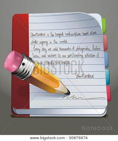 Open Notebook with colorful bookmarks. Vector illustration.