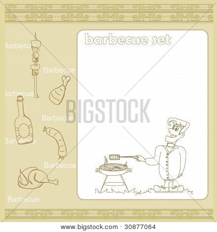 Cartoon Male dressed in grilling attire cooking meat - Invitation