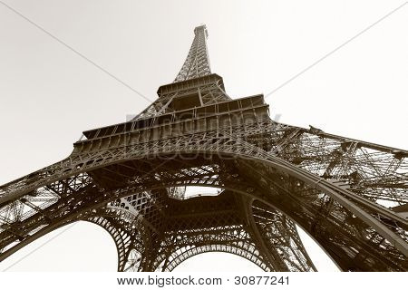 Eiffel tower, Paris. Black and white image sepia toned