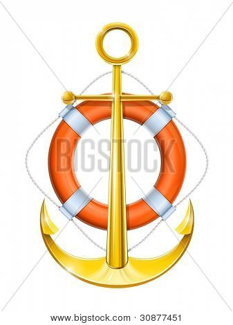 anchor and life buoy vector illustration isolated on white background