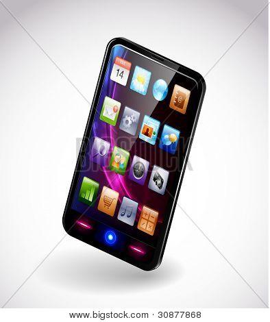 Detallado vector ilustración de un smartphone moderno