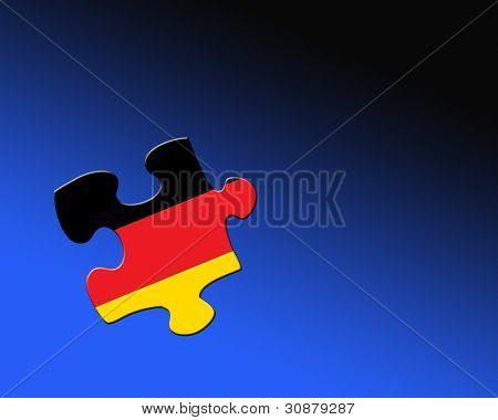 A single jigsaw piece filled with flag of Germany