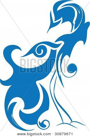 Blue Bird Of Happiness, Birds Of Paradise, Abstract Stylized Bird