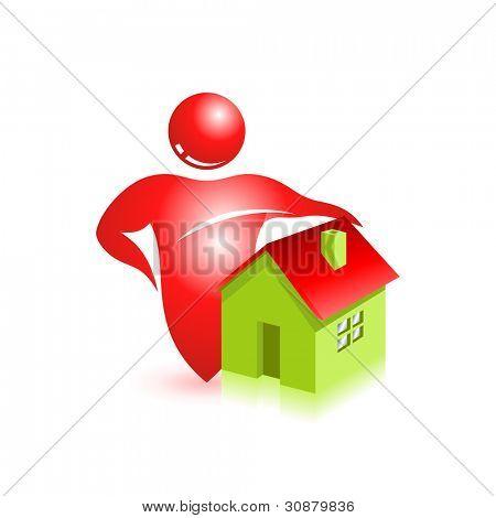 Estate 3d icon. Modern vector symbol. Eco home.