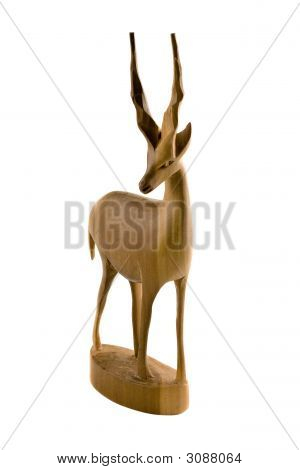 Deer Wood Sculpture Isolated On White Background