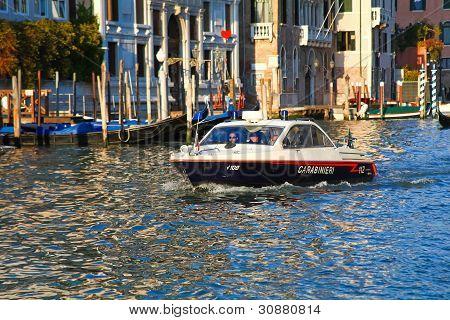 Carabinieri On Grand Canal, Venice
