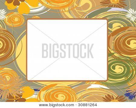 Vector Frame With Circles And Flowers