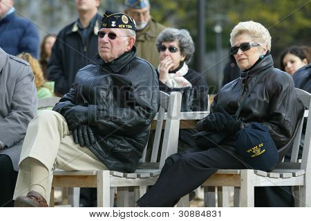 NEW YORK - NOV 11: Retired Judge and veteran Maurice Harbater (L) and his wife, Marilyn Harbater (R), attend a Veteran's Day Memorial service at St. John's University November 11, 2005 in Queens, NY.