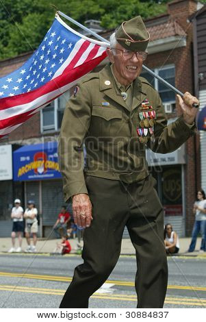 NEW YORK - MAY 29:  An unidentified veteran marches in the Little Neck/Douglaston Memorial Day Parade May 29, 2006 in Queens, NY.