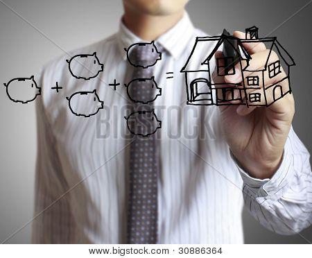 Hand-Zeichnung Haus in einem whiteboard