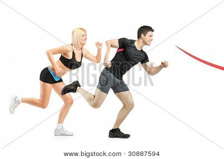 Athletes running towards a finish line isolated on white background