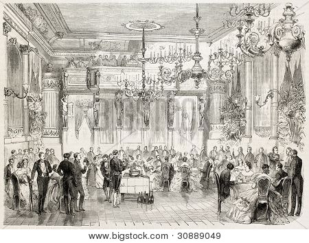 Banquet offered to Count and Countess De Bylandt by French Embassy in Stockholm. Created by Godefroy-Durand after Von Rosen, published on L'Illustration, Journal Universel, Paris, 1863