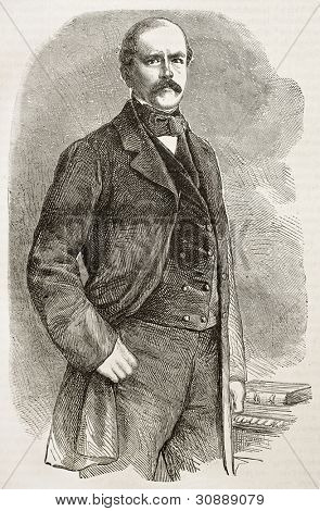 Otto Von Bismark old engraved portrait. Created by Janet-Lange after photo of unknown author, published on L'Illustration, Journal Universel, Paris, 1863