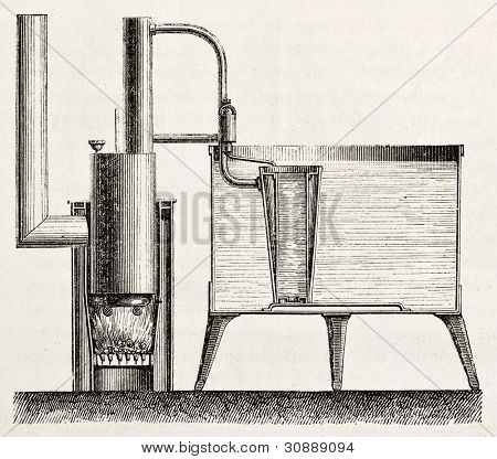 Domestic cooling apparatus old schematic illustration. Created by Bourdelin, published on L'Illustration, Journal Universel, Paris, 1863
