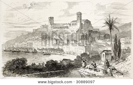 Cannes old view, France. Created by Rouargue after Boucher, published on L'Illustration, Journal Universel, Paris, 1863