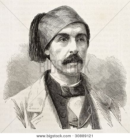 Nubar-Bey old engraved portrait, Egypt viceroy adviser. Created by Chenu, published on L'Illustration, Journal Universel, Paris, 1863