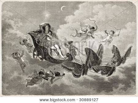 The Night old allegorical illustration. Created Created by Pauquet after Champod composition, published on L'Illustration, Journal Universel, Paris, 1863