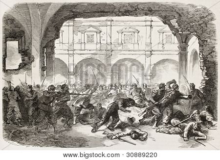French intervention in Mexico old illustration: fighting in Puebla's prison courtyard. Created by Worms after Pierson, published on L'Illustration, Journal Universel, Paris, 1863