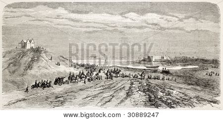 Napoleon Prince Imperial arrival in Suez. Created by Blanchard, published on L'Illustration, Journal Universel, Paris, 1863