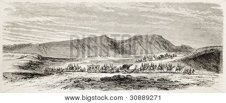 Napoleon Prince Imperial departure from Gebel-Genefe towards Suez. Created by Blanchard, published on L'Illustration, Journal Universel, Paris, 1863