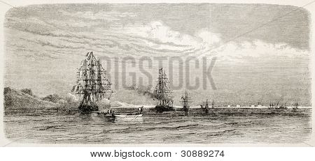 Napoleon Prince Imperial aboard of Cambodge in Suez bay. Created by Blanchard, published on L'Illustration, Journal Universel, Paris, 1863